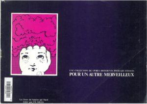 """Plaquette de présentation du collectif  """"Pour un autre merveilleux"""" (né en avril 1975) et de la jeune collection des """"livres du Sourire qui mord"""", réalisée entre juillet 1976"""
